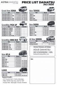 daftar harga pricelist daihatsu juli 2020