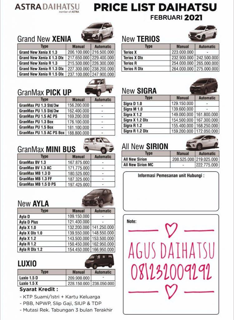 harga daihatsu 2021 februari
